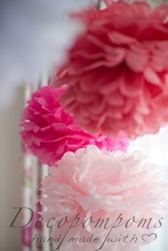 Pink tissue paper pompoms