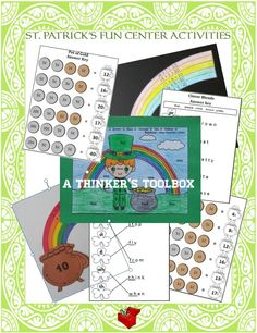 St. Patrick's Day Fun Center Activities by A Thinker's Toolbox are great with Kindergartners and First Graders. Included are 5 fun center activities!