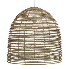 Our casual take on a formal chandelier, we use natural strands of jute twisted and wrapped around a collapsible three tier metal frame. Comes with a UL approved socket and soft cord single bulb pendant kit.
