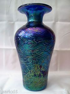 GOOD LARGE BLUE GOZO MDINA IRIDESCENT TEXTURED ART GLASS VASE SIGNED 24 CM HIGH | eBay