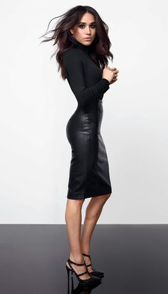 New Ladies Meghan Markle Celeb Polo High Neck Faux Leather Panel Bodycon Dress Women Dresses. Fashion is a popular style Estilo Meghan Markle, Meghan Markle Style, Meghan Markle Suits, Meghan Markle Hair, Meghan Markle Legs, Meghan Markle Fashion, Mode Outfits, Fashion Outfits, Womens Fashion
