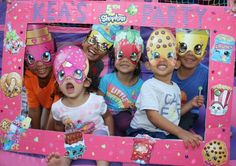 Photo frame with the kids with their masks