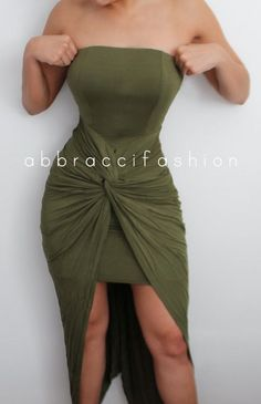 Olive Green Twisted Knotted Bodycon Dress by AbbracciFashion