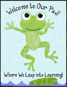 This welcome sign will look cute on your classroom door, especially if you have a frog themed classroom! Frog Theme Classroom, Classroom Welcome, Infant Classroom, Classroom Door, Classroom Displays, Frog Bulletin Boards, Back To School Bulletin Boards, Preschool Bulletin Boards, Frogs Preschool