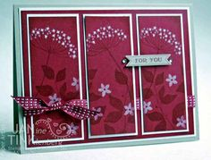 handmade card ... three panels .... Raspberry Ripple panels ... white and Rasphberry Ripple inks ... Summer Silhouettes ... like this look with the tone on tone stamping  ... Stampin' Up!
