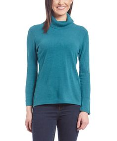 Loving this Jennie & Ray Teal Turtleneck Sweater on #zulily! #zulilyfinds