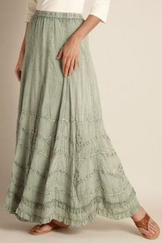 Soft green peasant skirt with pretty detailing