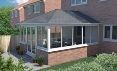 Elizabethan solid roof conservatory with 1 glass roof panel