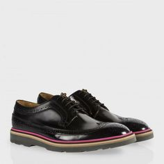 Paul Smith Men's Shoes - Black High-Shine Leather Grand Brogues