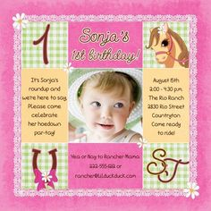 1st birthday and christeningbaptism invitation sample baptism girly pony roundup birthday invitation surrounds photo with pink cowgirl graphics for country western party stopboris Choice Image