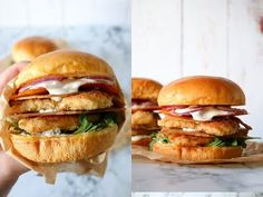 The Ultimate Crispy Chicken Burger With Crispy Chicken Skin And Cheddar Chips - By One Kitchen Cheddar Chips, Crispy Chicken Burgers, Burger And Chips, Toffee Bars, Chicken Skin, First Kitchen, Salmon Burgers, Food And Drink, Dessert
