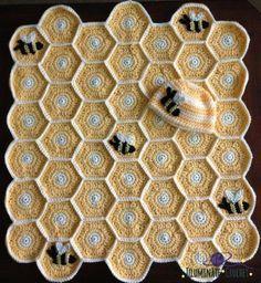 Sweet As Honey Hexagonal Crochet Blanket | The WHOot