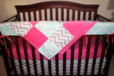 Mint Fynn Gray Chevron and Hot Pink Crib by DesignsbyChristyS