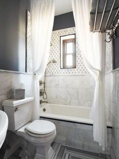 contemporary white & gray bathroom with two extra long shower curtains hung close to the ceiling making the bathroom look HUGE! Beautiful Bathroom Inspiration: Contemporary Shower Curtain Ideas from Bathroom Bliss by Rotator Rod Gray And White Bathroom, White Shower, Grey Bathrooms, Beautiful Bathrooms, Small Bathroom, Bathroom Ideas, Bathroom Gray, Bathroom Basin, Design Bathroom