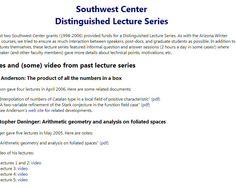 University of Arizona : Southwest Center for Arithmetic Geometry : Lectures by Swinneron-Dyer, K. Ribet, ...   http://swc.math.arizona.edu/dls/index.html