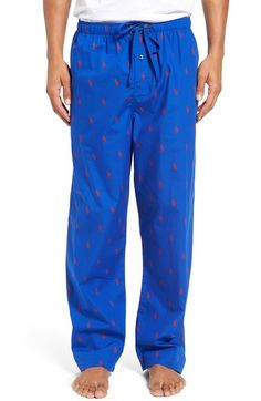 8f71fcbbd7e Polo Ralph Lauren Men s Woven Polo Player Pajama Pants - Pacific Royal M
