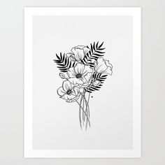 Poppy Black Leave Art Print by wildbloomart. Worldwide shipping available at Society6.com. poppies, poppy, bouquet, wildflower bouquet, bouquet of flowers, floral arrangement, drawing, floral art, flower drawing, botanical art, modern florals, pen and ink drawing, ink drawing, flowers, wildflower, WildBloom, entrepreneur, black and white, hand drawn, floral, micron pen