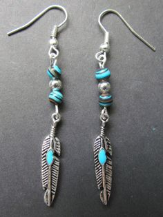feather earrings with blue malachite beads  nature by mizzoktober, $5.95