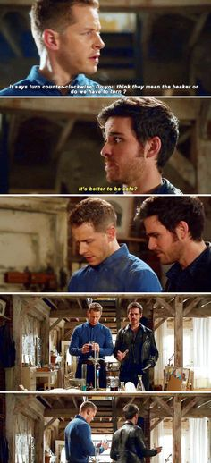 David and Hook bonding - This scene was hilarious. I love that Hook turned also and he wasn't holding anything. Lol