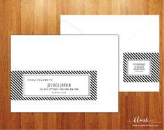 Black and White Striped Wrap Around Address by blushprintables, $18.00