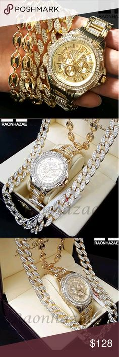 """MEN'S LAB DIAMOND WATCH SET New Iced Out Gold Plated Chronograph Hip Hop Watch Puffed Gucci 16mm 30"""" Cuban Chain CW02  10mm 24"""" Puffed Gucci Chain  16mm 30"""" Iced Out Cuban link Chain  Brand New TECHNO PAVEWatch  Watch FACE Diameter 1.75""""  8.5"""" Metal Band  Polished Stainless Steel Case  Japan Movt Quartz  Water Resistant Accessories Jewelry"""
