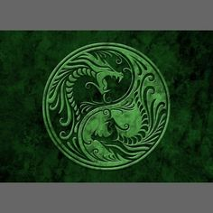 Green Stone Yin Yang Dragons Business Card by Jeff Bartels