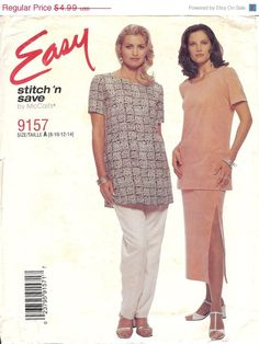 Misses Pants and Top Sewing Pattern 9157 by McCalls, Size A (8-10-12-14), a Vintage 1998 Sewing Pattern, consists of 10pieces to sew pant, skirt, and tunic top. The pattern is uncut except for the pant pieces 6, 7, 8. All pattern pieces and instructions are in the envelope. Misses' pull-over tunic with short sleeves has darts and side slits, , pull-on pants with side seam pockets, and skirt with side slits have elastic at waist. Size A is a multi-size pattern for sizes 8 through 14 by…