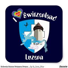 Schweiz Suisse Svizzera Svizra Switzerland Kleber Switzerland, La Luna, Lucerne, Crests, Decals, Blue