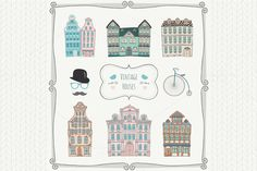 Check out Set of Vintage Old Styled Houses by Olka on Creative Market
