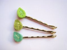 Bobby Pins Hair Clips Tiny Leaf Set of 3 Wool Felt by HeyMiemie, $8.50