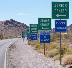One man's Funnies: Road signs to Senior Center Funny Road Signs, Funny Street Signs, Senior Center, Morning Humor, Photos Of The Week, Along The Way, Caricature, That Way, Laugh Out Loud
