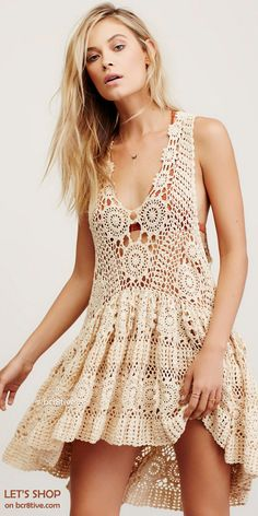 Free People Lace Column Dress at Free People Clothing Boutique Style Hippie Chic, Gypsy Style, Bohemian Style, Boho Chic, Crochet Tunic, Crochet Clothes, Crochet Tops, Sequin Tunic, Crochet Summer Dresses