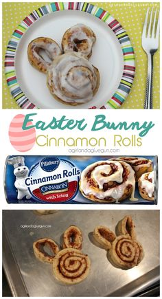 easy easter bunny cinnamon rolls made from store bought rolls. perfect for Easter morning breakfast or brunch