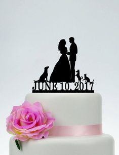 Wedding Cake topper with dog and cat, Bride and Groom With Pets,Mr and Mrs Cake Topper,Custom Cake Topper, Couple silhouette, Date Cake Topper C197 Hi dear, Thank you so much for visiting my shop! I make cake topper for weddings, birthday, anniversary and all events. If you have any questions or needs just feel free to tell me. I will try my best to meet your needs. ************ABOUT THE CAKE TOPPER************ • Each topper is laser cut from 1/8 inch thick acrylic • Width : 5-8 (app...