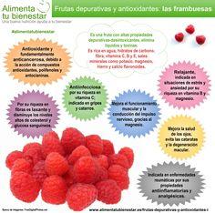 Frutas depurativas y antioxidantes: las frambuesas #alimentatubienestar #infografia