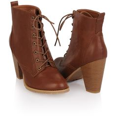 Workman Lace-Up Bootie ($6.99) ❤ liked on Polyvore featuring shoes, boots, ankle booties, heels, forever 21, women, heel boots, lace up boots, short heel boots and lace up heel boots