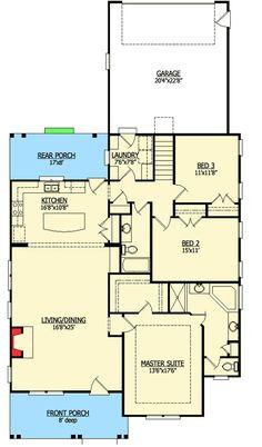 1706 sq ft Cool Cottage With Bonus Room - 15050NC floor plan - Main Level