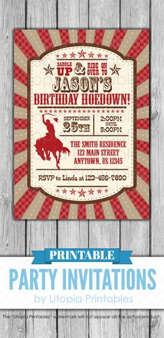 "Printable rustic red and brown ""Saddle Up"" birthday hoedown invitation with a cowboy riding a horse. Country western themed digital party invite template with a unique design to fit a cowboy or cowgirl rodeo, farm or ranch idea, style or theme. This customized announcement card will be personalized with your custom text. DIY file that you can download and print at home."