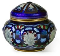 Camille Fauré Enameled metal covered pot~Circa 1924