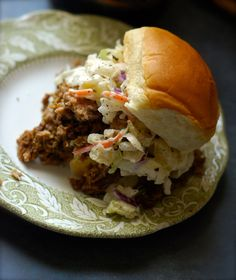 Caribbean Jerk Pulled Pork Sliders with Pineapple Slaw.. I definitely  need to lighten these up for my Shrinking On a Budget Meal Plan, but I love the basics of the recipe.