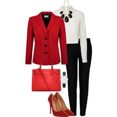 """Black, White & Red Outfit"" by roses-s on Polyvore"