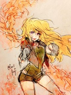 This girl is on fire! Anime Manga, Anime Art, Rwby Yang, Red Like Roses, Rwby Red, Rwby Ships, Genesis Evangelion, Blake Belladonna, Rwby Fanart