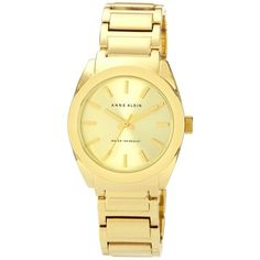 My watch from macy's i love it :) Anne Klein Watch, Women's Gold Tone Adjustable Bracelet 32mm... ($65) ❤ liked on Polyvore