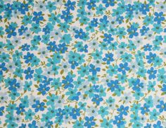 Vintage 50s Fabric Teal and Blue Floral