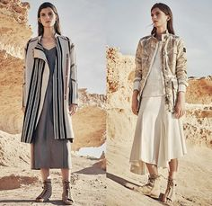 Belstaff England 2016 Spring Summer Womens Lookbook Presentation - London Fashion Week - London Collections Women British Fashion Council UK United Kingdom - Denim Jeans Motorcycle Biker Leather Cargo Pockets Shirt Blouse Outerwear Jacket Trench Coat Wide Leg Trousers Palazzo Pants Culottes Quilted Sheer Chiffon Mesh Knit Sweater Jumper Stripes Windbreaker Sleeveless Hoodie Straps Parka