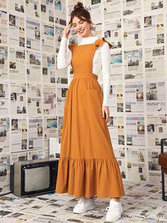 Trendy Dresses, Cute Dresses, Vintage Dresses, Modest Dresses For Teens, Korean Fashion Dress, Fashion Dresses, Hijab Fashion Summer, Fancy Dress Design, Modelos Fashion