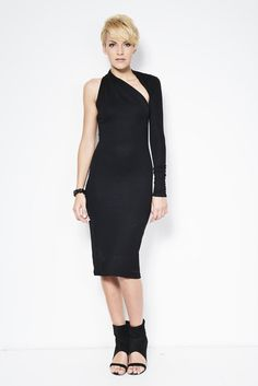 Black One Shoulder Dress / Pencil Dress / by marcellamoda on Etsy
