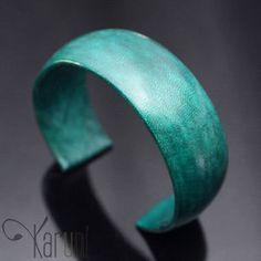 Karuni Bracelet Touareg en Cuir Vert 2 cm Bijoux Ethniques