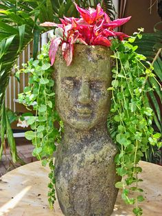 Changing Your Garden Appearance with Stone Head Planter - Unique Balcony & Garden Decoration and Easy DIY Ideas Face Planters, Garden Planters, Balcony Garden, Garden Accessories, Cacti And Succulents, Yard Art, Container Gardening, Beautiful Gardens, Outdoor Gardens