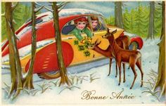 french vintage happy new year card Vintage Christmas Cards, Vintage Cards, Vintage Paper, Vintage Happy New Year, Happy New Year Cards, New Year Post, Art Deco Illustration, Postcard Art, Old Postcards